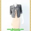 2872เสื้อผ้าคนอ้วน ชุดทำงานคอกลมครีมตัวในเย็บติดตัวนอกคลุมทับสีเทาปกบัวจีบด้านหน้าสไตล์เท่ห์คล่องตัว กระฉับกระเฉง