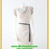 2876เสื้อผ้าคนอ้วน ชุดทำงานคอถ่วงสีงาช้างแซมกากเพชรระยิบระยับในเนื้อผ้าเนื้อผ้ายืดคอถ่วงแขนจีบไหล่ย่นด้านข้าง