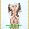 3043ชุดแซกทำงาน เสื้อผ้าคนอ้วนผ้าลูกไม้ดำปูซับในส้มคลุมด้วยลายกราฟฟิคแต่งระบายปกแขนสไตล์หรูเนี๊ยบ