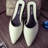 รองเท้าแตะผู้หญิงสีขาว เปิดส้น หัวแหลม ลายหนังงู ยอดฮิต ลูกค้าสั่งตรึม แฟชั่นเกาหลี
