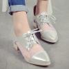 รองเท้าคัทชูผู้หญิงสีเงิน หัวแหลม แบบเชือกผูก ส้นหนา แฟชั่นยุโรป