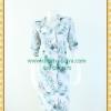 2398เสื้อผ้าคนอ้วน ชุดทำงานลายใบไม้กระดุมหน้ามีปกทรงกระชับสัดส่วนเข้ารูปคล่องตัวแขนยาว