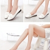 รองเท้าคัทชูส้นเตี้ยสีขาว หัวแหลม ประดับโบว์ หนังPU สไตล์หวาน น่ารัก แฟชั่นเกาหลี