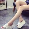 รองเท้าส้นตึกสีขาว แบบสวม เปิดส้น แนวหวาน น่ารัก แฟชั่นเกาหลี