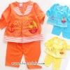 ชุดนอนเด็กสีสดใส ส้ม ฟ้า เหลือง ไซด์ 1-2 ปี