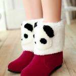 รองเท้าบูทผู้หญิงสีแดง หนังกำมะหยี่ แต่งขนสัตว์การ์ตูนหมีแพนด้า แนวแฟนซี น่ารัก แฟชั่นเกาหลี