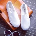 รองเทาผ้าใบผู้หญิงสีขาว พื้นหนา แบบสวม แนวคลาสสิค เรียบง่าย ทรงทันสมัย แฟชั่นเหาหลี