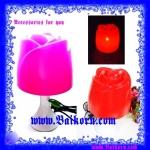 โคมไฟรูปดอกกุหลาบ ( Rose table lamp ) โคมไฟตั้งโต๊ะ รูปดอกกุหลาบ สีชมพู