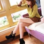 รองเท้าบู๊ทส้นสูงสีดำ วัสดุPU ด้านในบกำมะหย ส้นสูง8cm กันน้ำ ซิปด้านหน้า แฟชั่นเกาหลี