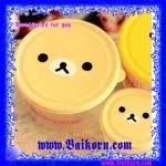 กล่องพลาสติกทรงกลม แบบ 2 ชั้น สไตล์ Rilakkuma ( Rilakkuma Bento ) กล่องพลาสติกสำหรับเก็บของอาหาร โดยสามารถเข้าไมโครเวฟได้ สีน้ำตาลอ่อน
