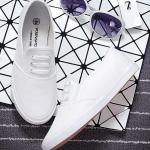รองเท้าผ้าใบแฟชั่นผู้หญิงสีขาว พื้นสีขาว แบบเชือกผูก แต่ง3แถบ เก่ไก๋ ทรงทันสมัย เรียบง่าย แฟชั่นเกาหลี