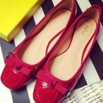 รองเท้าส้นแบนแฟชั่นสีแดง หัวเหลี่ยม ทรงอาซาคุจิ แต่งโบว์ วัสดุPU ทรงน่ารัก แฟชั่นเกาหลี