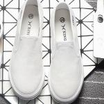 รองเท้าผ้าใบแฟชั่นผู้หญิงสีขาว ใส่เหยียบส้นได้ แบบสวม เรียบง่าย ดูดี น่ารัก ใส่ลำลอง