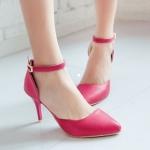 รองเท้าส้นสูงสีแดง รัดส้น หัวแหลม เข็มขัดรัดข้อเท้า ส้นสูง8.5cm แนวหวาน เจ้าหญิง สไตล์แฟชั่นเกาหลี
