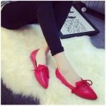รองเท้าส้นเตี้ยผู้หญิงสีแดง หัวแหลม แบบเชือก ใส่แล้วเท้าเรียว แฟชั่นเกาหลี