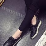 รองเท้าผ้าใบแฟชั่นสีดำ หัวแหลม แบบเชือกผูก วัสดุพียู สไตล์ญี่ปุ่น ทรงสุภาพ แฟชั่นเกาหลี
