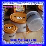 กล่องพลาสติกทรงกลม แบบ 2 ชั้น สไตล์ Rilakkuma ( Rilakkuma Bento ) กล่องพลาสติกสำหรับเก็บของอาหาร โดยสามารถเข้าไมโครเวฟได้ สีน้ำตาลเข้ม