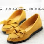 รองเท้าหุ้มส้นผู้หญิง ทรงบัลเลต์ สีเหลือง ตกแต่งโบว์ แฟชั่นเกาหลี