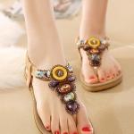 รองเท้าแตะรัดส้นสไตล์โบฮีเมี่ยน (สีแอปปริคอท)