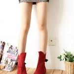 รองเท้าบู๊ทผู้หญิงสีแดง ผ้าสักราด ประดับโบว์ ส้นเตี้ย แฟชั่นเกาหลี