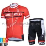 ชุดจักรยานแขนสั้น Castelli 2015 สีแดงดำ