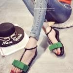 รองเท้าแตะรัดส้นสีเขียว แต่งโบ สายรัดกระชับเท้า เข็มขัดปรับระดับได้ ดูดี แฟชั่นเกาหลี