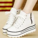 รองเท้าผ้าใบเสริมส้นสีขาว หุ้มข้อ แต่งซิปข้าง แบบเชือกผูก ส้นสูง5cm แฟชั่นเกาหลี