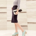 รองเท้าคัทชูส้นตึกสีฟ้า ทูโทน หัวกลม แบบเชือกผูก ส้นสูง5.5cm สวยอินเทรนด์ แฟชั่นเกาหลี