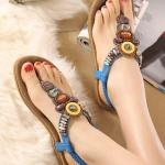รองเท้าแตะรัดส้นสไตล์โบฮีเมี่ยน (สีน้ำเงิน)