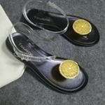 รองเท้าแตะผู้หญิงสีดำ รัดส้น แต่งส้ม วัสดุยาง กันน้ำ ดูดี แฟชั่นเกาหลี