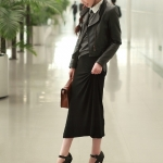รองเท้าส้นสูงสีดำ หุ้มส้น รุ่นไนท์คลับ มีเข็มขัดรัดข้อเท้า ส้นสูง15.5cm พื้นหนา6cm สวยสง่า ไฮโซ แฟชั่นเกาหลี