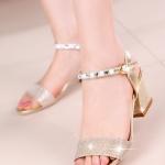 รองเท้าส้นสูงสีทอง ส้นหนา รัดส้น สายรัดปรับระดับได้ แนวเจ้าหญิง หรูหรา ดูแพง แฟชั่นเกาหลี
