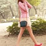 รองเท้าส้นเตารีดสีแดง หุ้มส้น วัสดุผ้า หลังส้นประดับโบว์ ส้นสูง7cm แฟชั่นเกาหลี