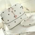 กระเป๋าสะพายข้างสีขาว แบบซิป ทรงสี่เหลี่ยม วัสดุPUนิ่ม เรียบง่ายดูดี แฟชั่นเกาหลี