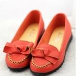 รองเท้าหุ้มส้นผู้หญิง ทรงบัลเลต์ สีแดง ตกแต่งโบว์ แฟชั่นเกาหลี