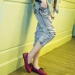 รองเท้าคัทชูส้นแบนสีแดง หนังนิ่ม แบบเชือกผูก ส้นประดับหมุด สไตล์หวาน แฟชั่นเกาหลี