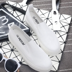 รองเท้าผ้าใบแฟชั่นเกาหลีสีขาวล้วน วัสดุหนัง ใส่เหยียบส้น แบบสวม ทรงทันสมัย เรียบง่าย ใส่ลำลอง