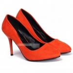 รองเท้าส้นสูงสีแดง แบบหุ้มส้น ผ้ากำมะหยี่ แฟชั่นเกาหลี