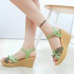 รองเท้าส้นเตารีดสีมรกต รัดส้น สายปรับระดับได้ พื้นสาน สไตล์หวาน แฟชั่นเกาหลี