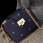 กระเป๋าสะพายข้างสีน้ำเงิน ทรงสี่เหลี่ยม สายสะพายแบบสร้อยสีทอง ช่องอเนกประสงค์3ช่อง แฟชั่นเกาหลี