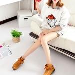 รองเท้าบู๊ทผู้หญิงสีน้ำตาล หนังเย็บ แบบเชือกผูก ส้นเตี้ย ตกแต่งด้วยระบายตรงข้อเท้า แฟชันเกาหลี