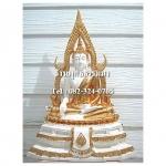พระพุทธรูปปางมารวิชัย ซุ้มแก้ว ( พระพุทธชินราช ) สีขาว เนื้อเรซิ่น หน้าตัก 9 นิ้ว สูง 24 นิ้ว (รวมฐาน)