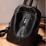 กระเป๋าเป้แฟชั่นสีดำ ไซส์ใหญ่ สะพายหลัง กระเป๋านักเรียน หนังPUนิ่ม แบบซิป กันน้ำ แฟชั่นเกาหลี
