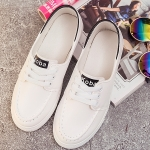 รองเท้าผ้าใบผู้หญิงสีขาว แถบดำ แบบสวม โชว์แนวตะเข็บ แนวย้อนยุค วินเทจ แฟชั่นเกาหลี