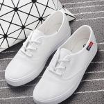 รองเท้าผ้าใบแฟชั่นเกาหลีสีขาว วัสดุหนัง แบบเชือกผูก เชือกกลม พื้นแบน เรียบง่าย ดูดี