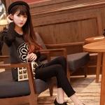 รองเท้าผ้าใบผู้หญิงสีดำ หนังPU แบบเชือกผูก ส้นเตี้ย สวมใส่สบาย สไตล์แฟชั่นเกาหลี