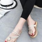 รองเท้าแตะผู้หญิงสีขาว สายคาดสีขาว แบบรัดส้น สไตล์โรมัน แฟชั่นเกาหลี