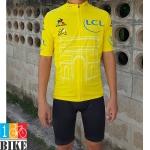 ชุดจักรยานแขนสั้น LCL สีเหลือง