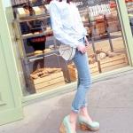 รองเท้าส้นเตารีดสีเขียว หุ้มส้น ตกแต่งระบายลายลูกไม้ หัวมล สไตล์หวาน ส้นสูง8cm แฟชั่นเกาหลี