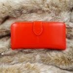 กระเป๋าสตางค์ผู้หญิงหนังเเท้สีส้ม กระเป๋าสตางค์หนังนุ่มนิ่มมือ